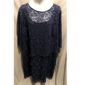 Size 32 Ulla Popken Dress Blue Sparkle NWT